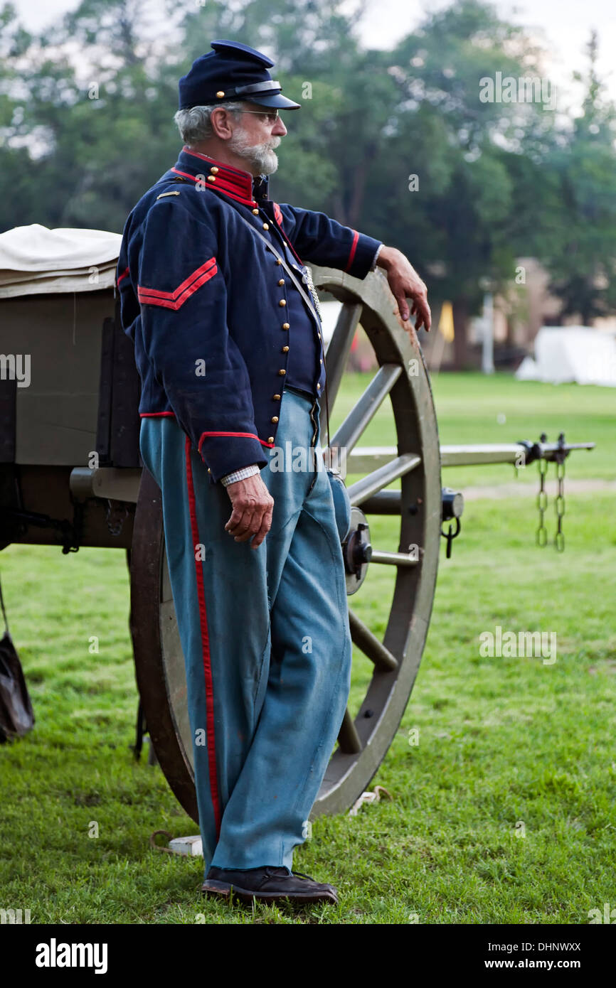 Civil war era union soldier reenactor and cannon fort stanton live fort stanton new mexico usa