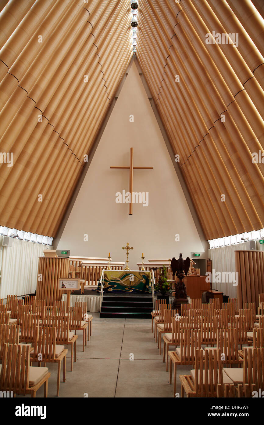 the cardboard cathedral designed by shigeru ban christchurch stock photo royalty free image. Black Bedroom Furniture Sets. Home Design Ideas