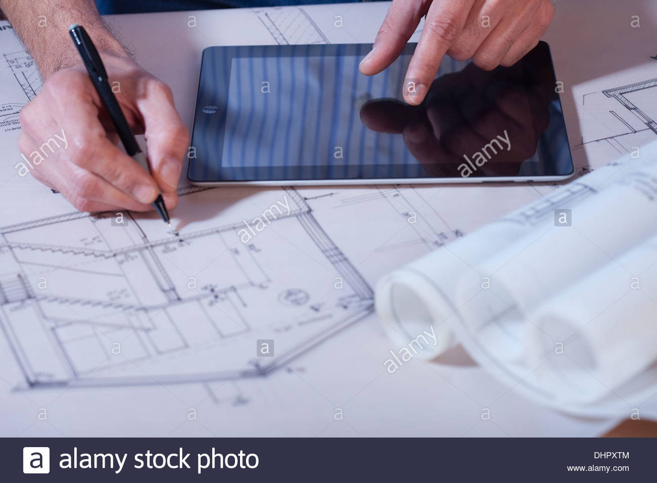 Blueprint close up drawing hands tablet pc ipad stock photo blueprint close up drawing hands tablet pc ipad malvernweather Image collections