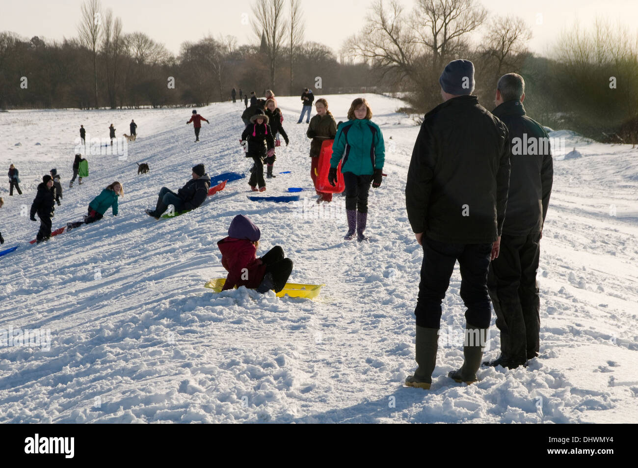 york weather. Stock Photo - Cold Weather Uk Snow Snowy In Yorkshire Children Sledging On Terrington Bank Near York Sledge Sledges Kids Snowing Snowed H S