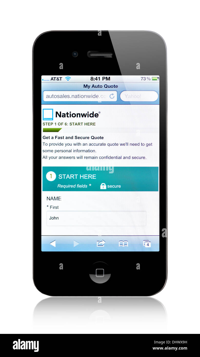 Nationwide Auto Quote Iphone Screen Showing Nationwide Insurance Website Stock Photo