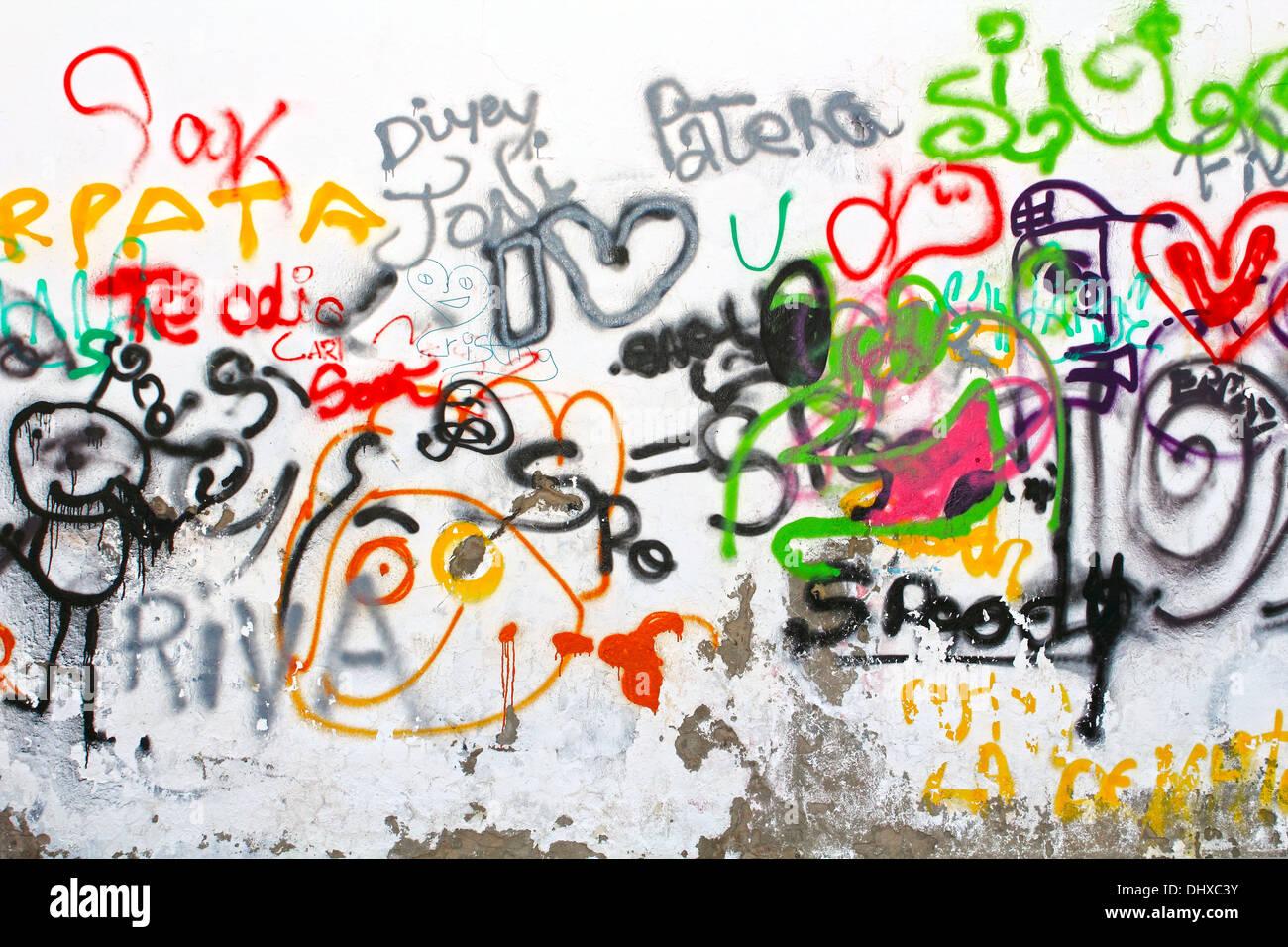 Graffiti wall clipart - Colorful Graffiti On A White Wall Stock Image
