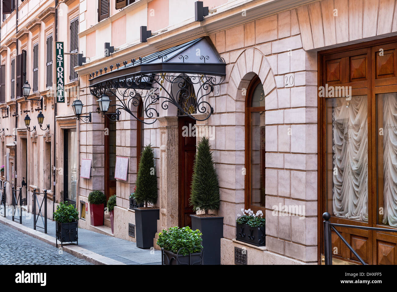 Italian restaurant exterior -  Facade Of Italian Restaurant On A Quaint Street Rome Italy Stock Photo