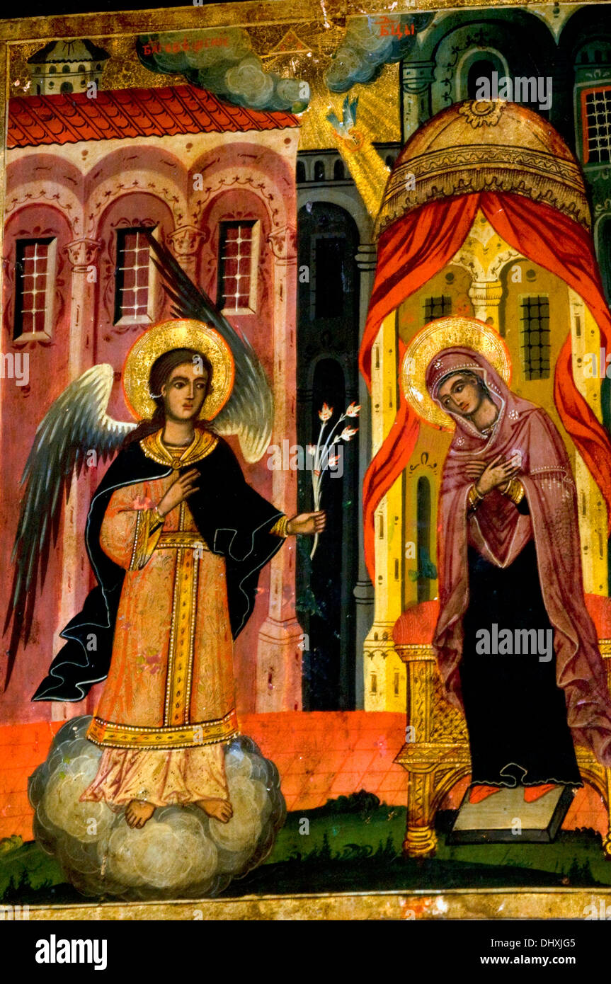 Small icon of the Angel Gabriels visitation of the Virgin Mary – Angels Announce the Birth of Jesus