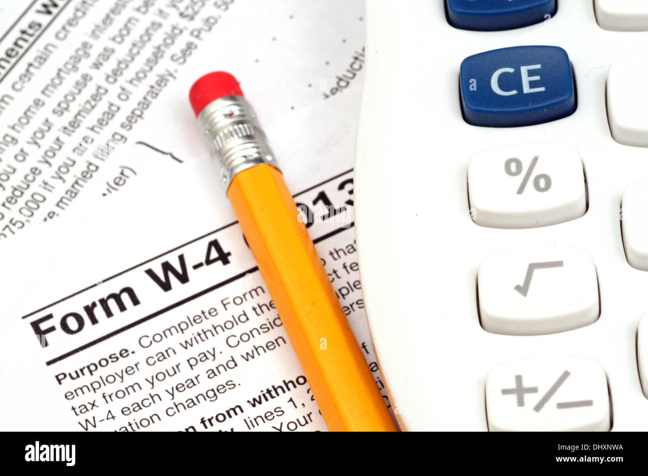 Irs form w 4 close up with tax preparation tools stock photo irs form w 4 close up with tax preparation tools falaconquin