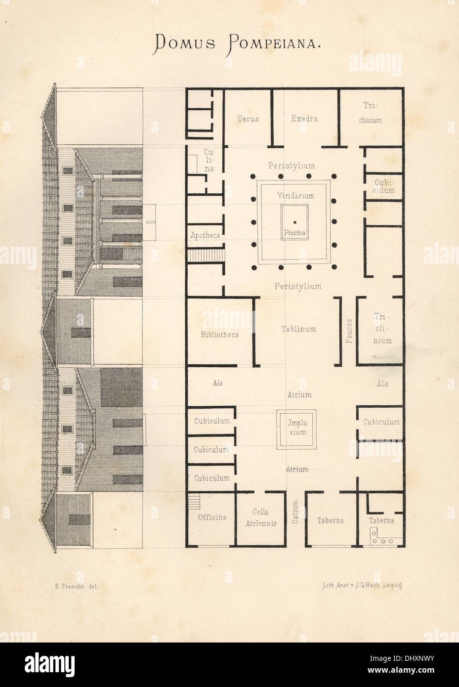 Elevation Floor Plan House : Domus pompeiana floor plan and elevation of a luxurious