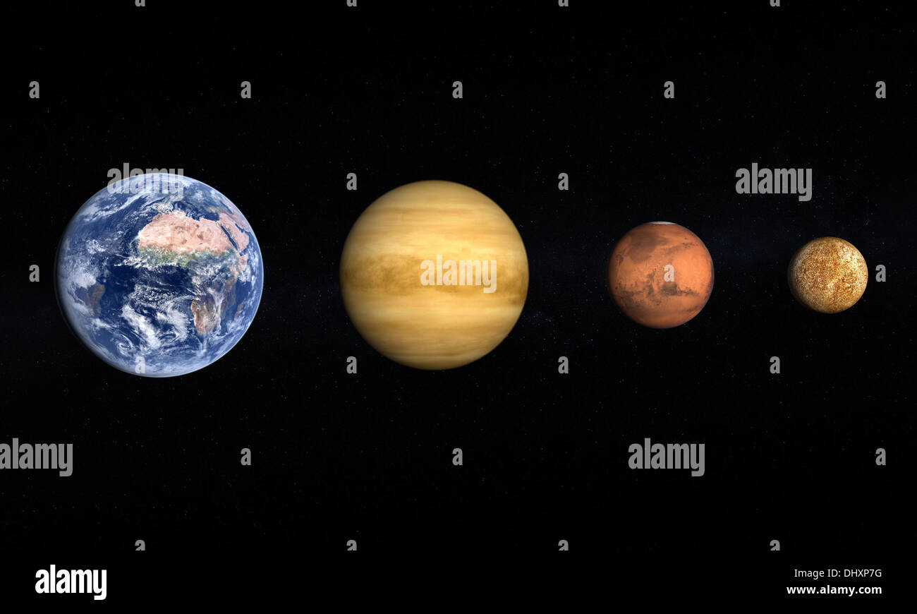 A comparison between the planets Earth, Venus, Mars and ...