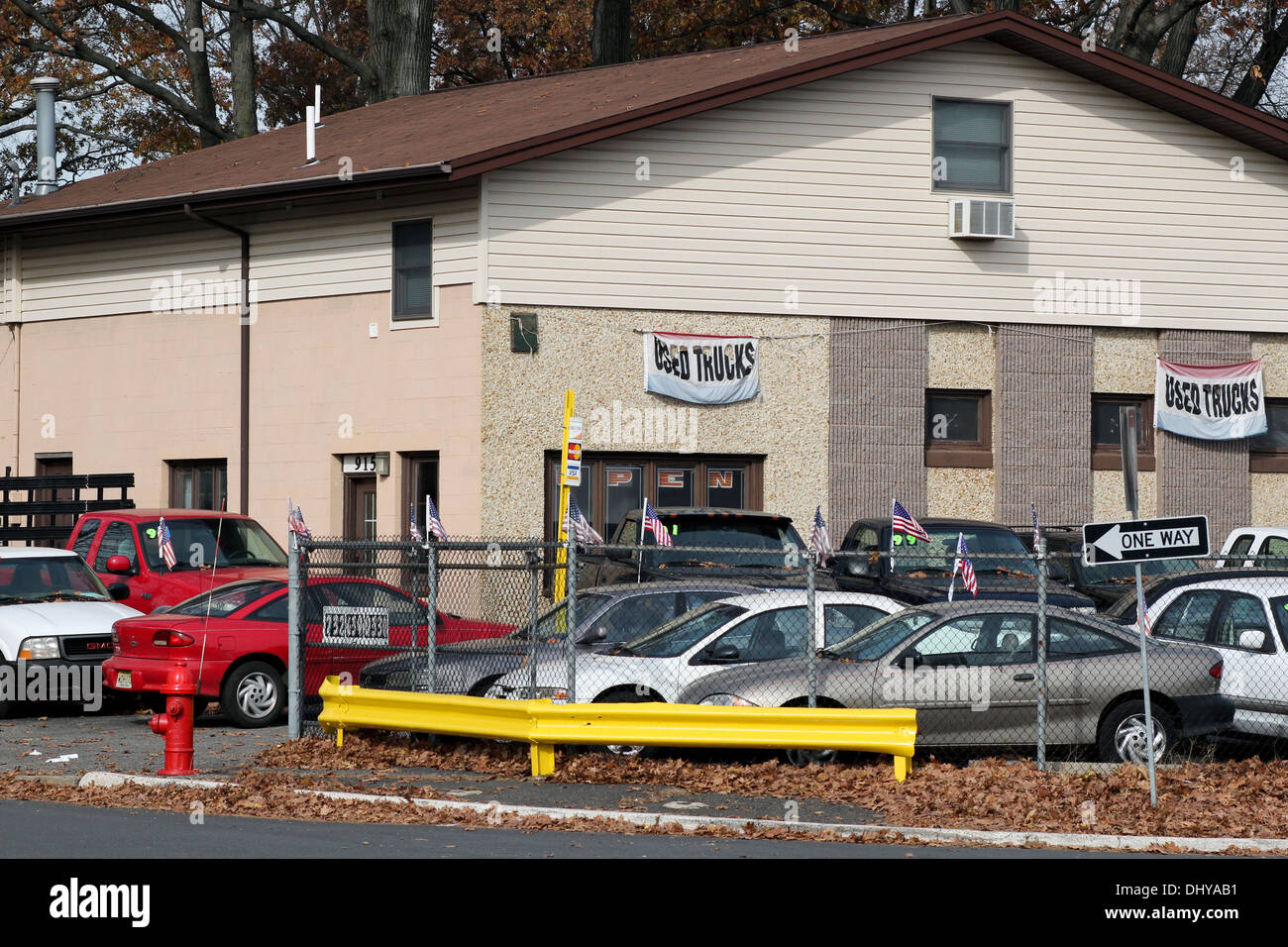Used car and truck corner lot stock photo royalty free image