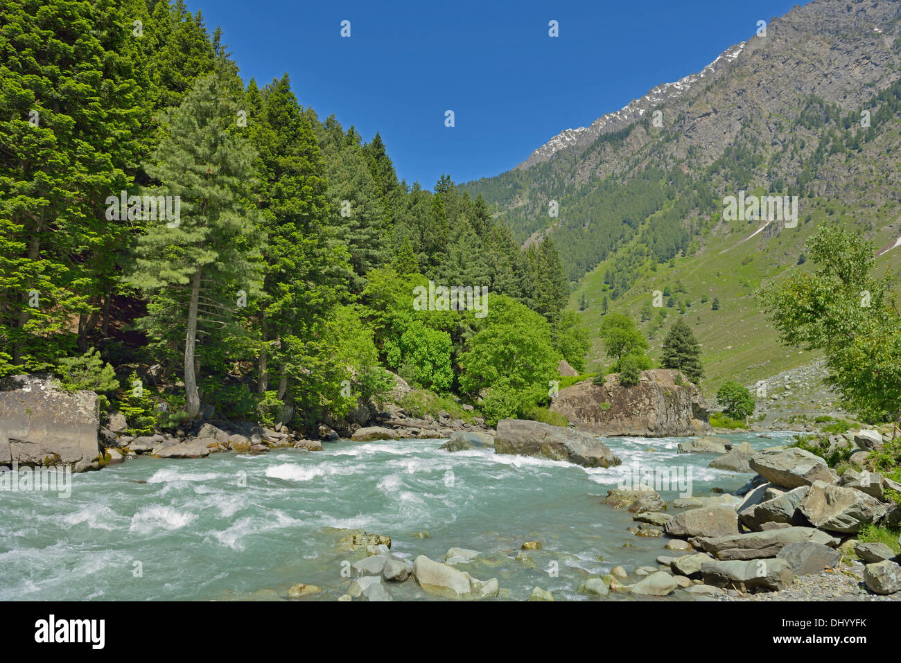 Indus river valley in Kashmir Stock Photo, Royalty Free Image ...