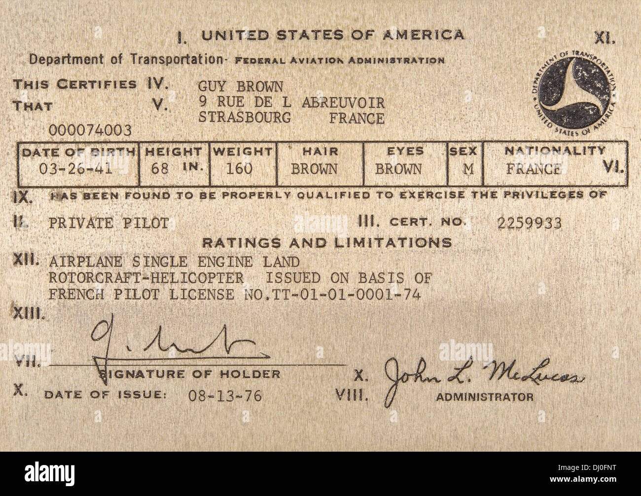US Private Airplane And Rotorcraft Helicopter Pilot License Stock Photo Roya