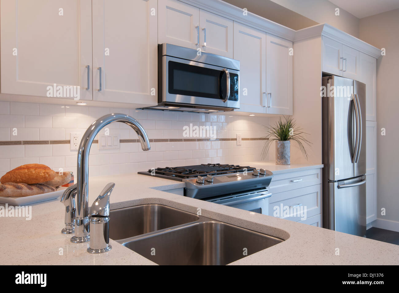 Uncategorized Kitchen Appliances Surrey sink stove and built in microwave oven modern kitchen surrey british columbia canada