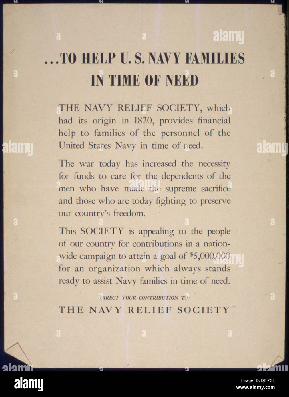 To Help U.s. Naval Families In Time Of Need. The Navy Relief ...