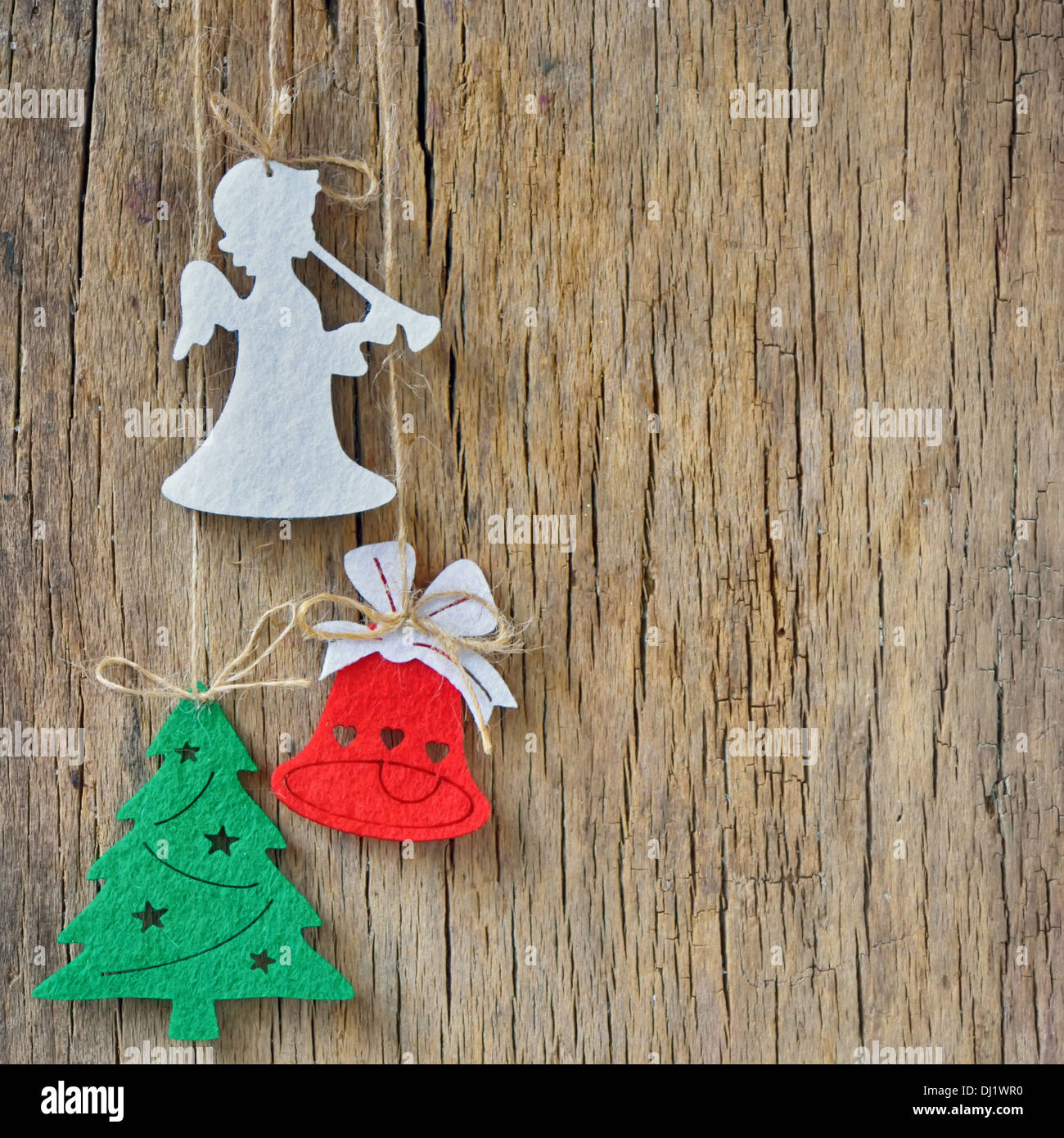 rustic christmas decoration on old wood background Stock Photo ...