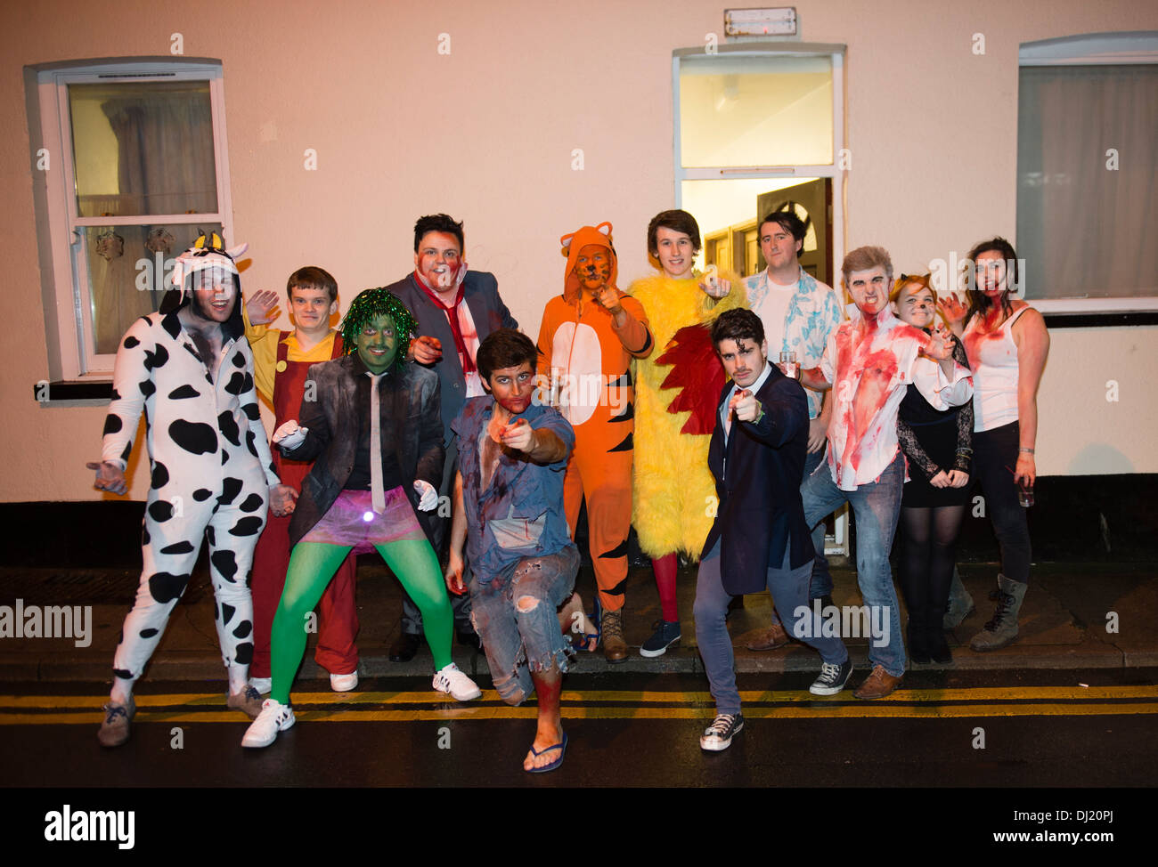 A group of 12 Young People, university students, in fancy dress ...