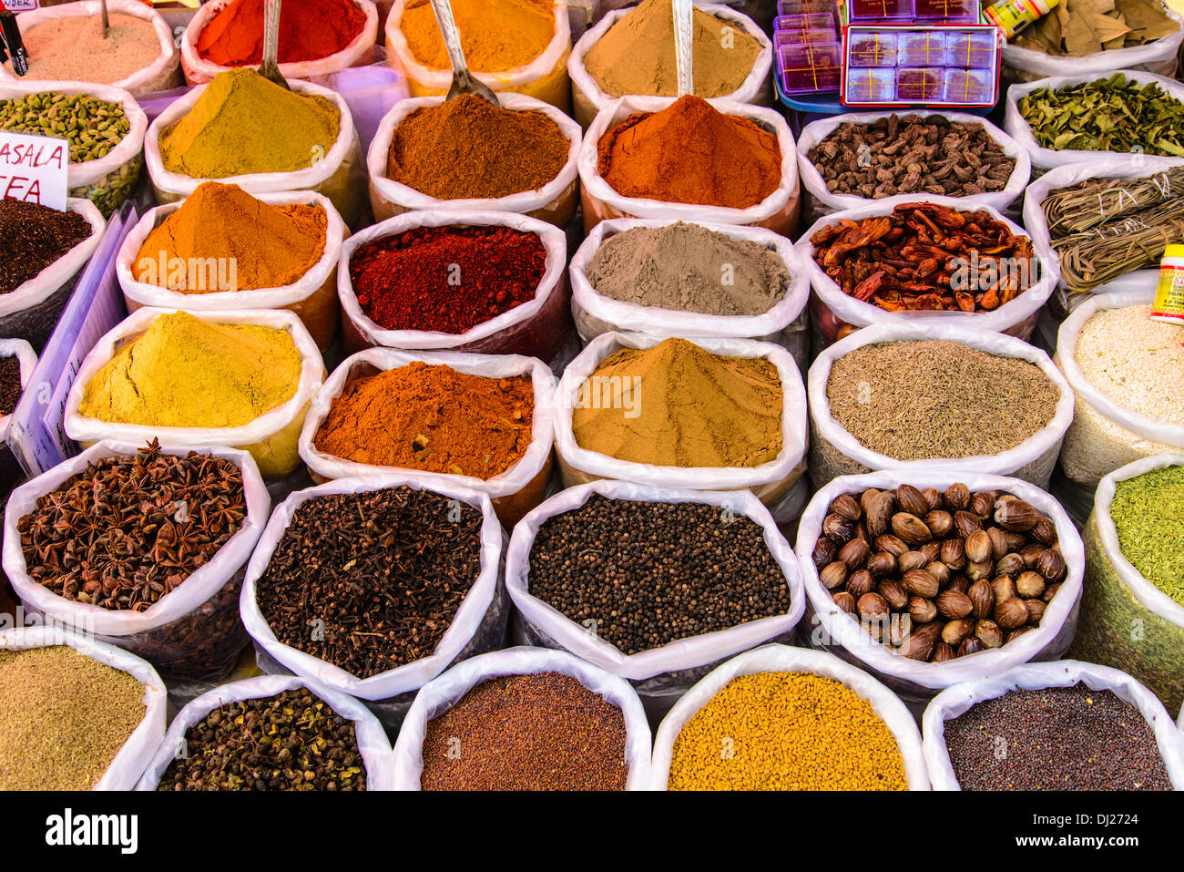 Indian Spices on sale at the Mapusa Market Goa India Stock Photo