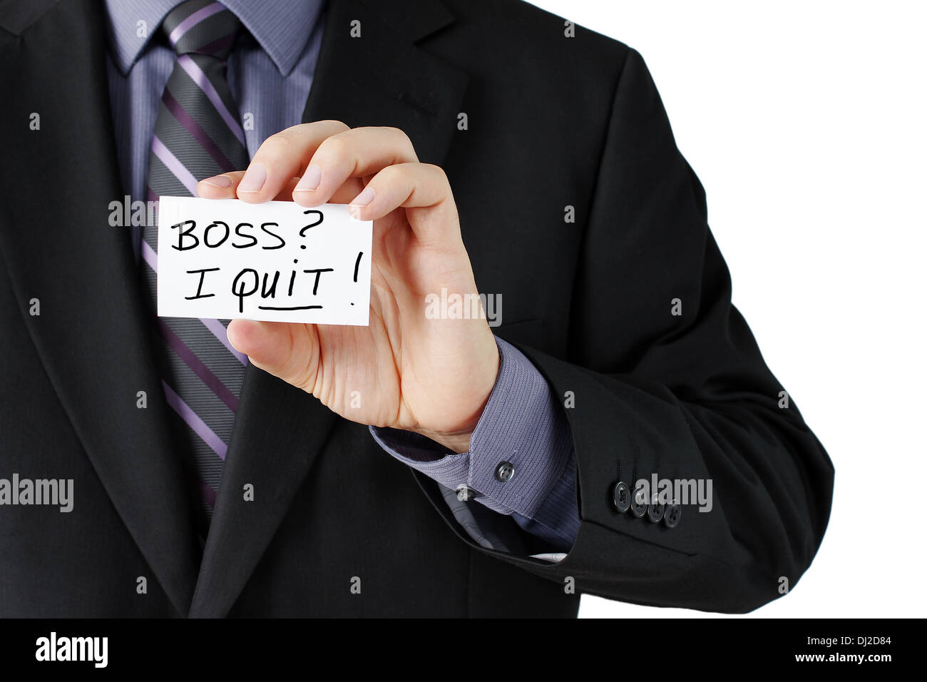 Man hand holding a business card stating I quit in bold! Stock ...