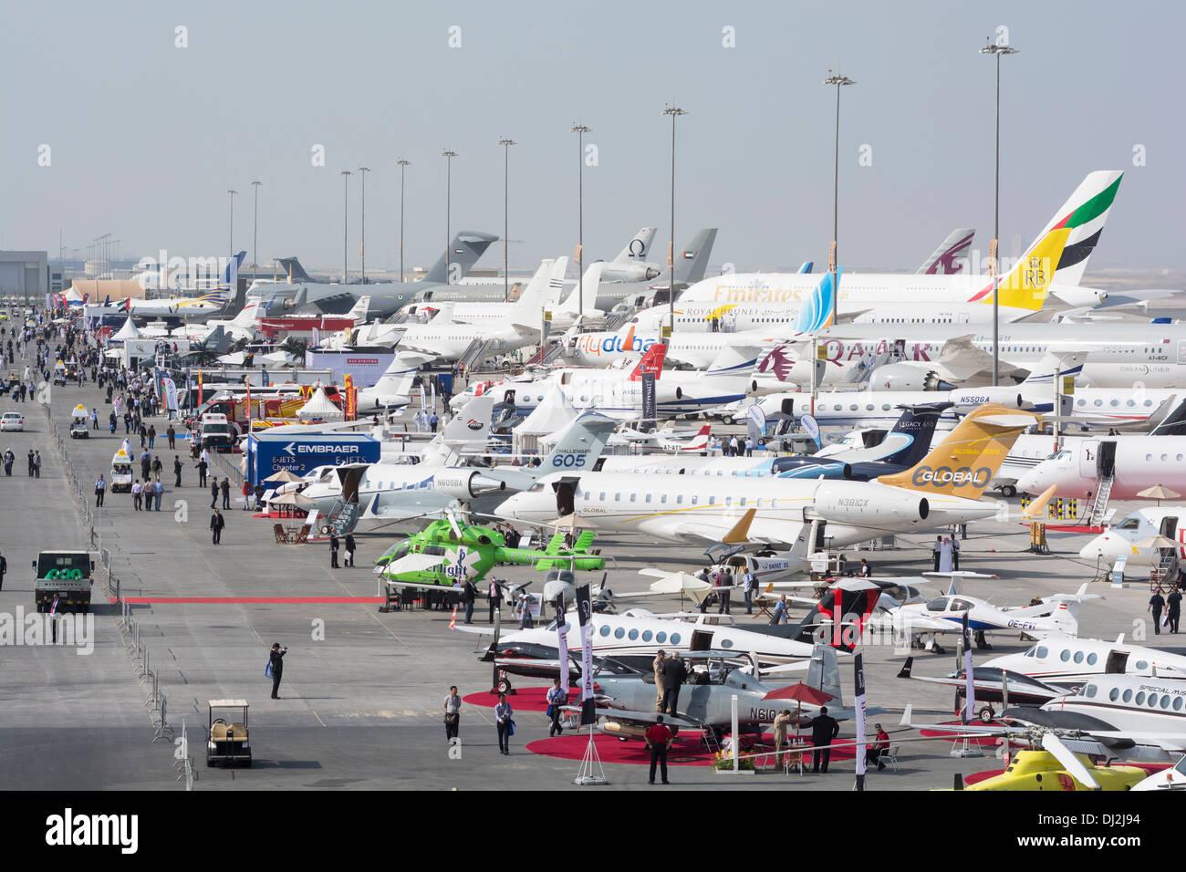 White apron dubai - Many Aircraft On Apron At Al Maktoum International Airport During Dubai Airshow 2013 In United Arab