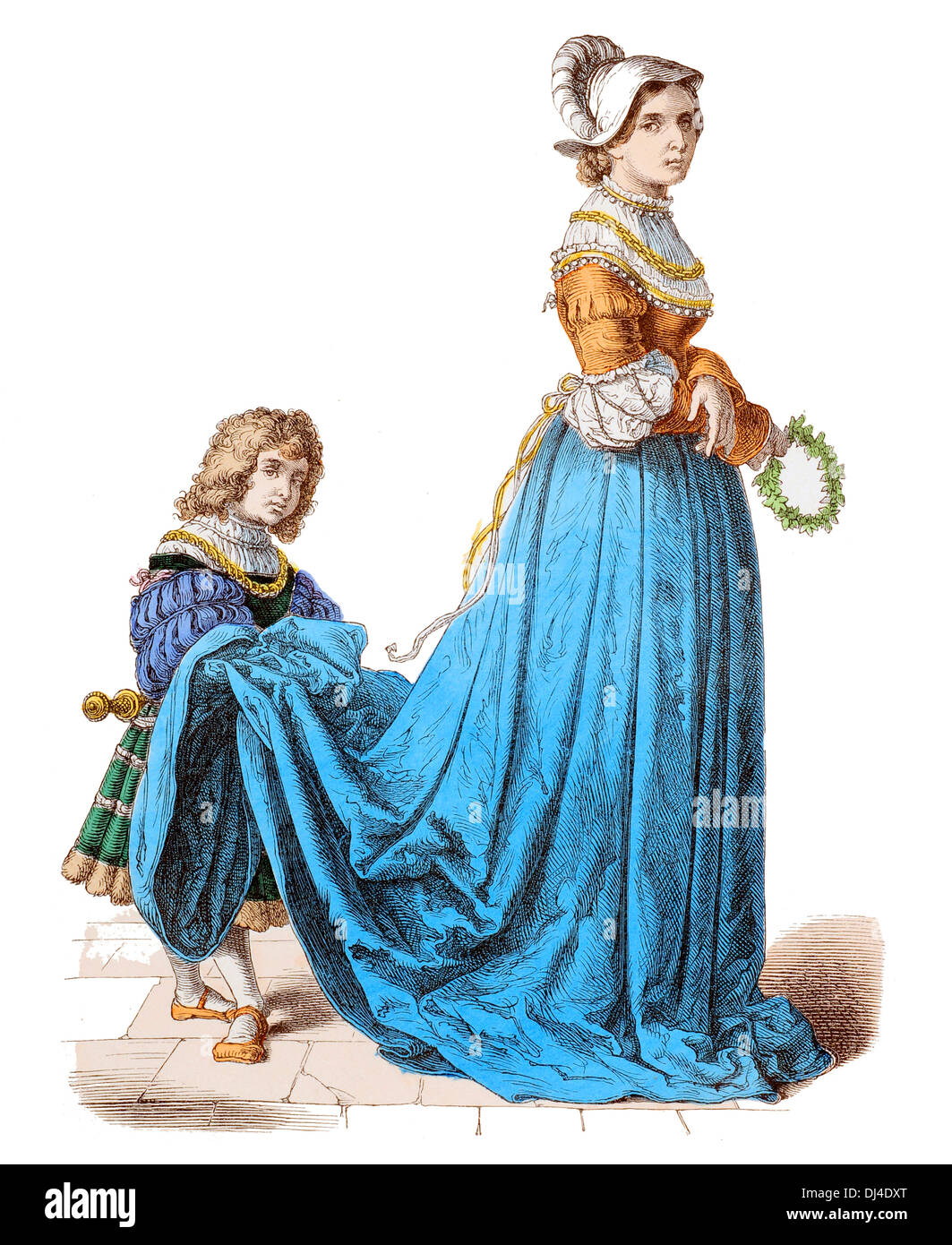 france noble lady and page boy 16th century stock photo royalty