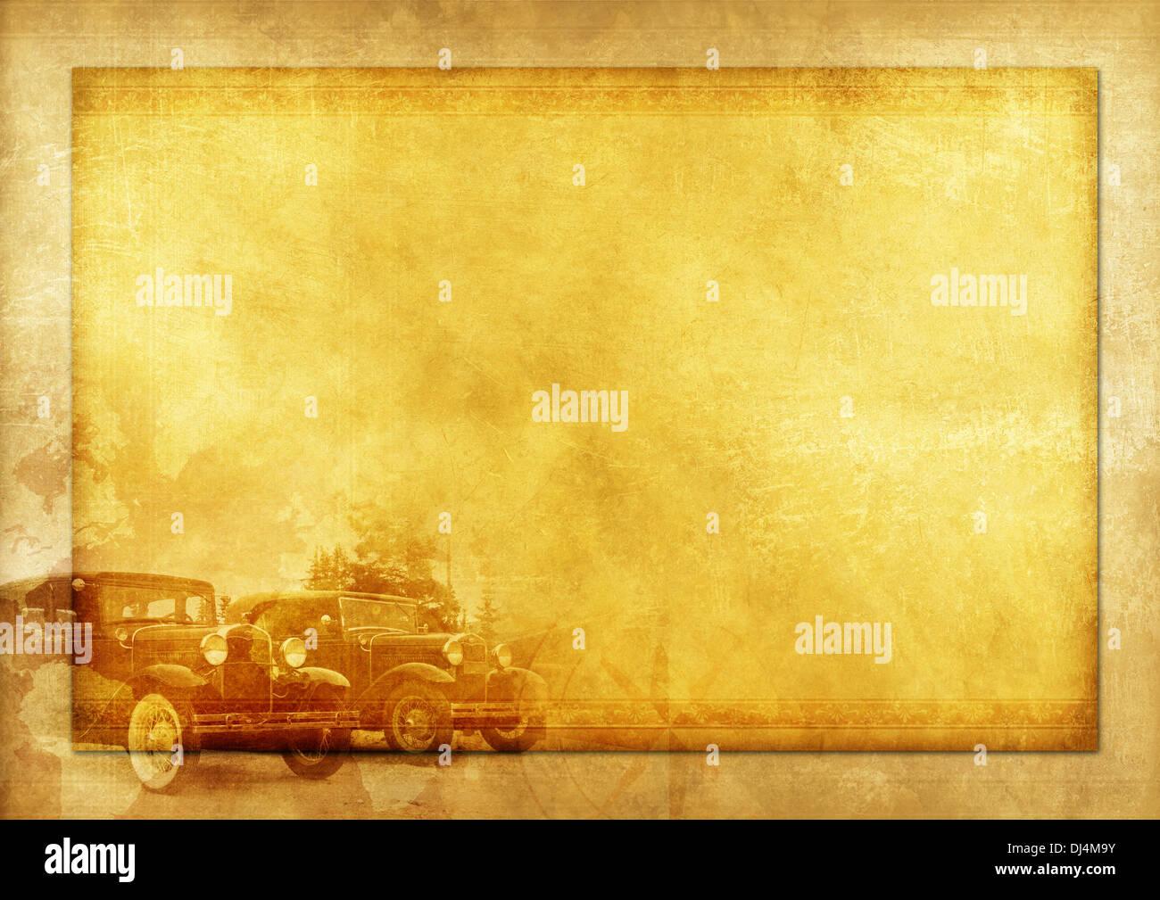 Transportation History Vintage Background Illustration With Two