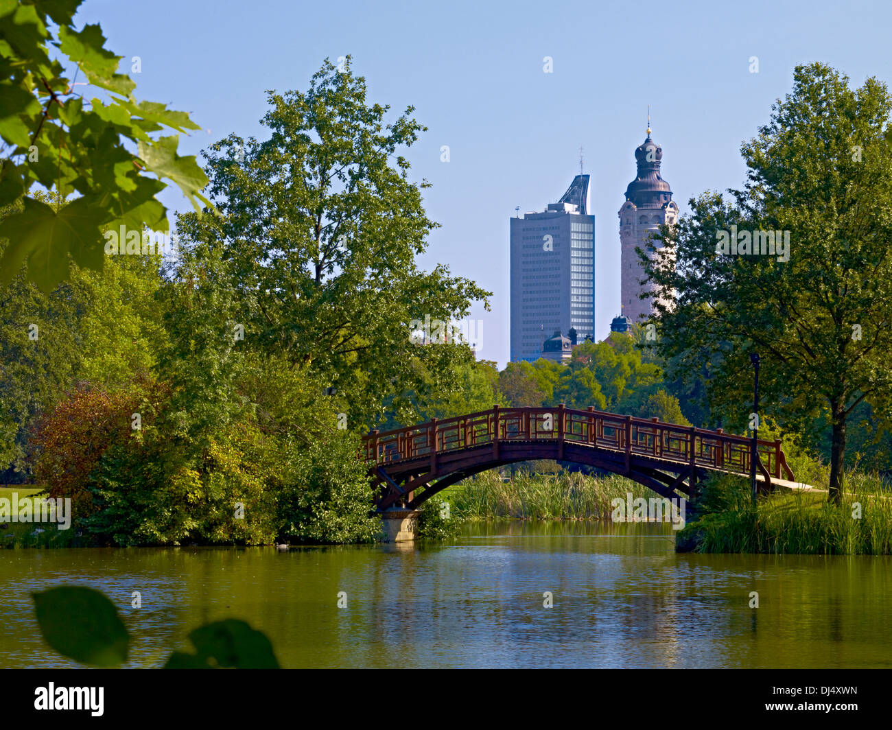 johanna park overlooking downtown to uni and town hall in leipzig stock photo royalty free. Black Bedroom Furniture Sets. Home Design Ideas