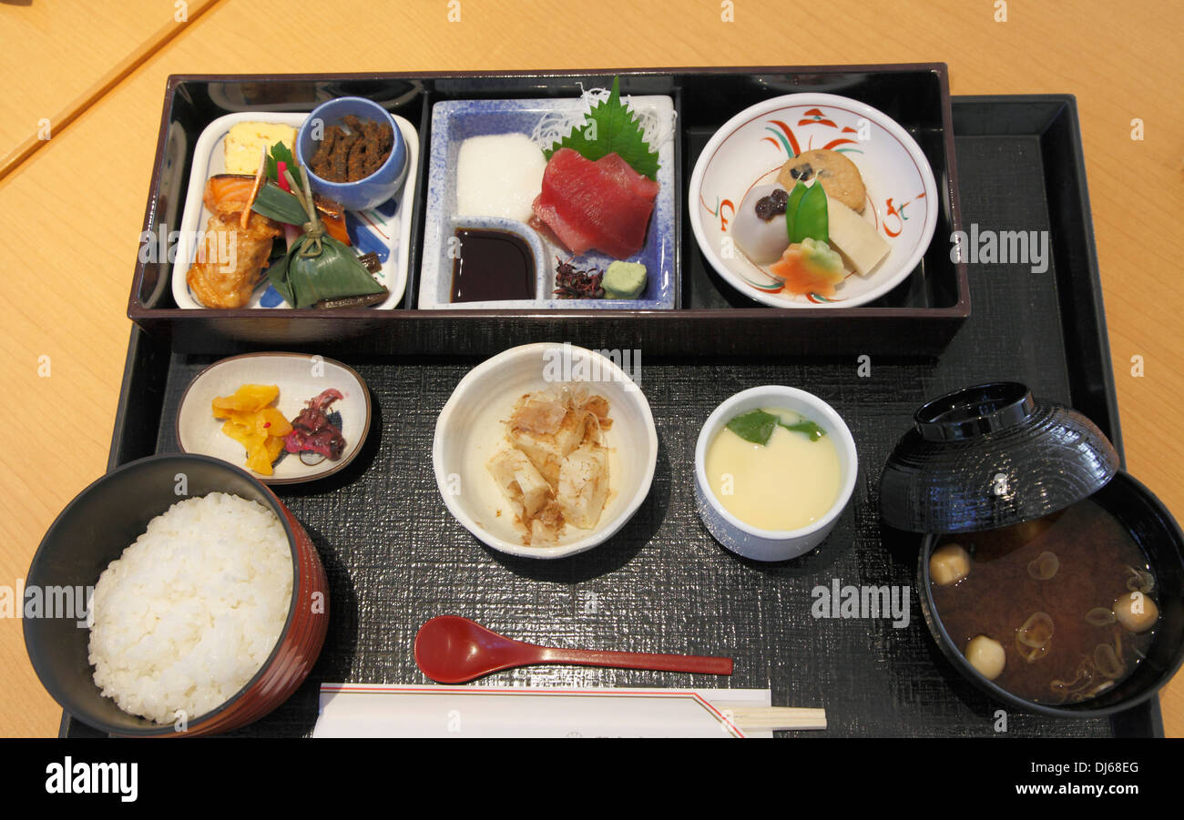 Japan tokyo traditional japanese set meal stock photo for Authentic japanese cuisine