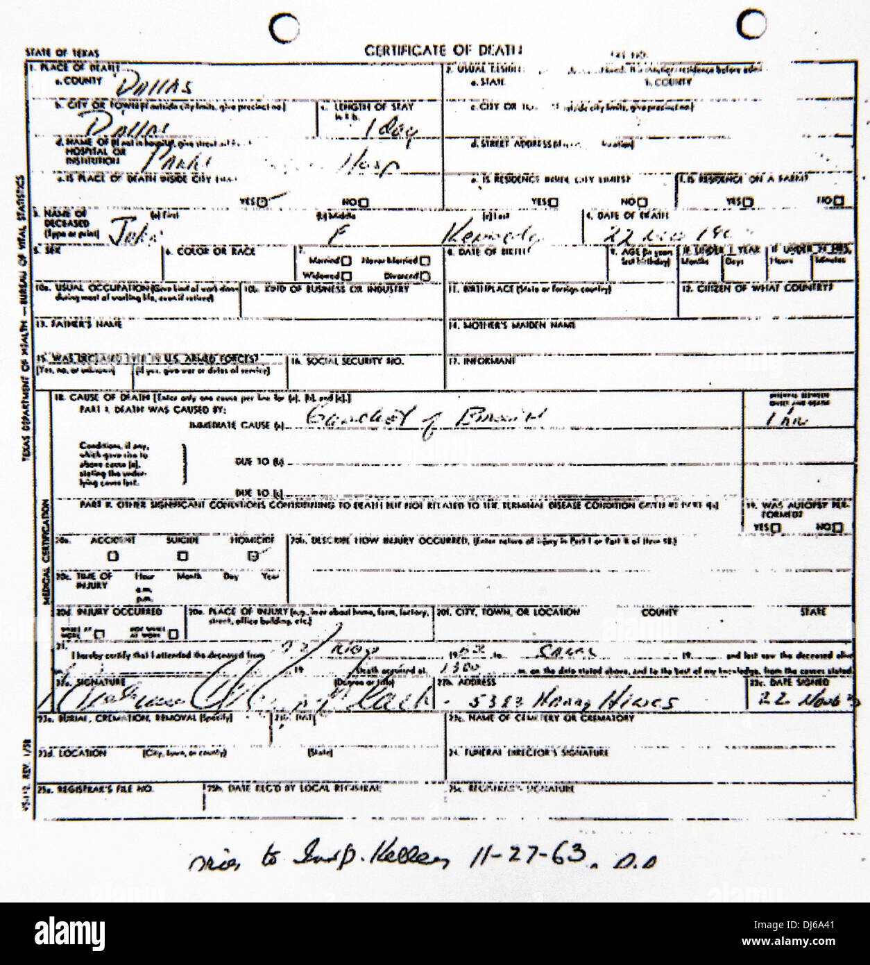 Dallas texas usa 22nd nov 2013 the state of texas death stock the state of texas death certificate for president john f kennedy credit brian cahnzumapressalamy live news 1betcityfo Choice Image