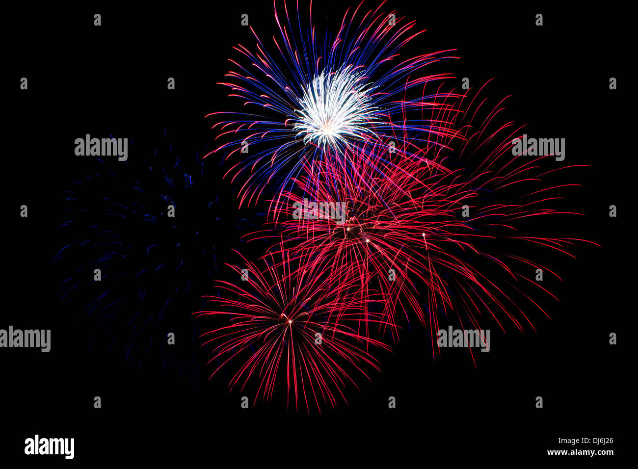 Red Fireworks Free Stock Photo: Red, White And Blue Fireworks On A Black Background Stock