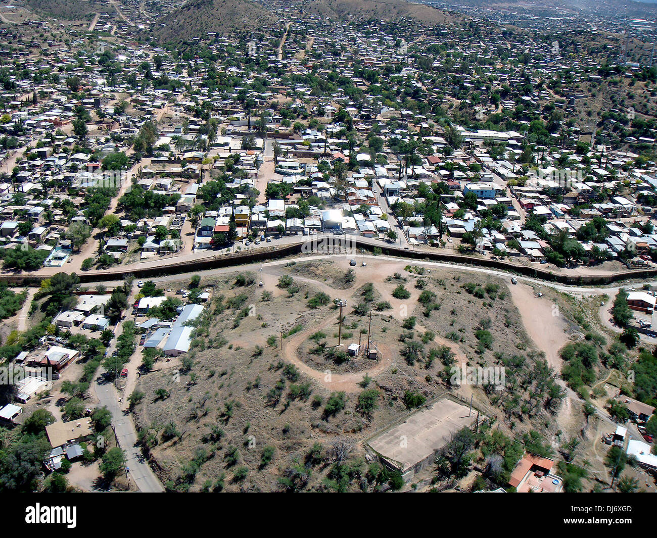 Aerial View Of The Border Fence Separating Nogales Arizona From - Aerial maps over mexican us border