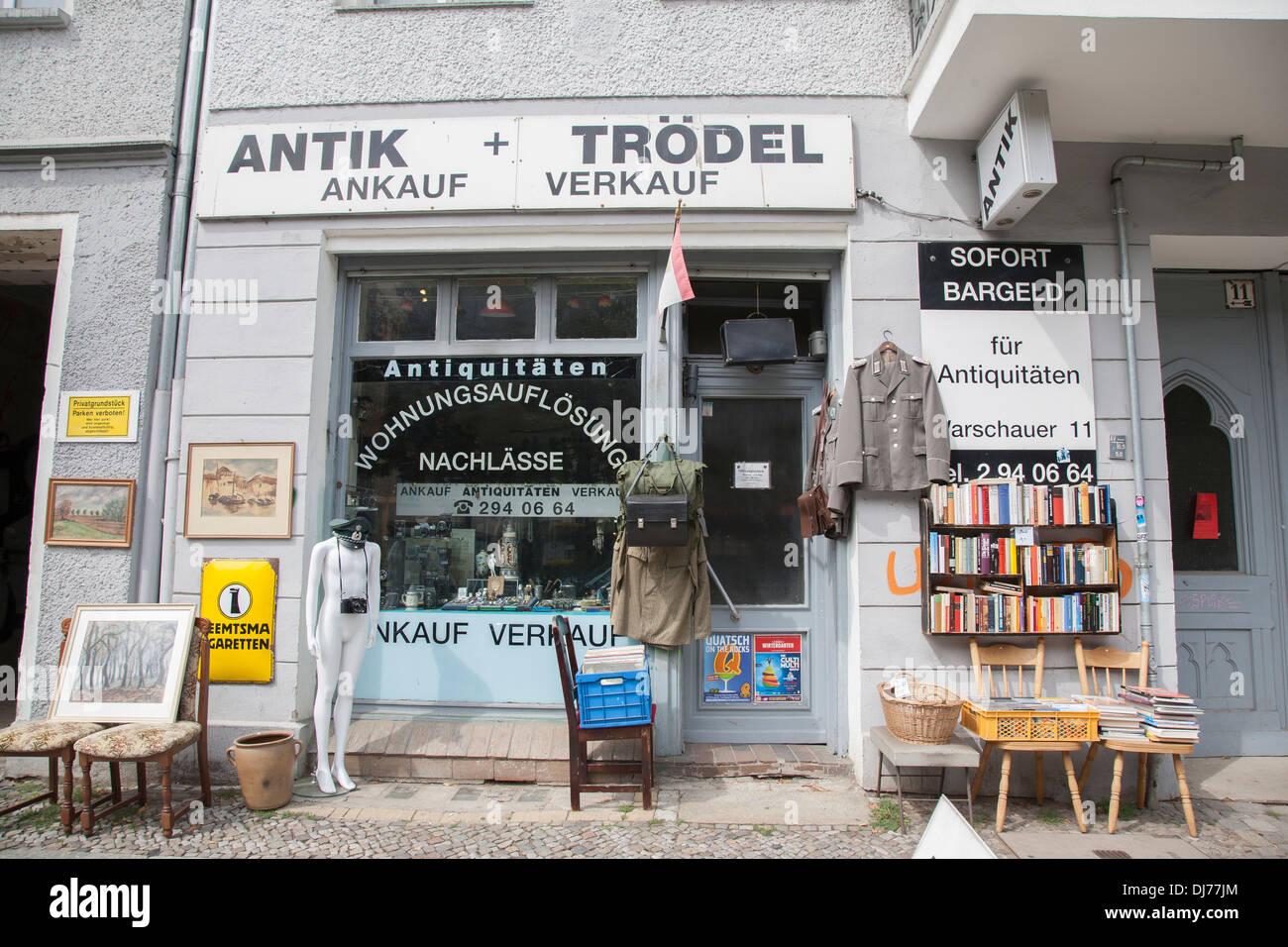 antik and trodel antique shop in warschauer str berlin germany stock photo royalty free image. Black Bedroom Furniture Sets. Home Design Ideas