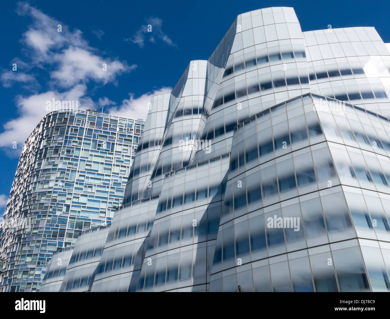 Frank gehry building and 100 eleventh avenue condo in chelsea nyc stock image