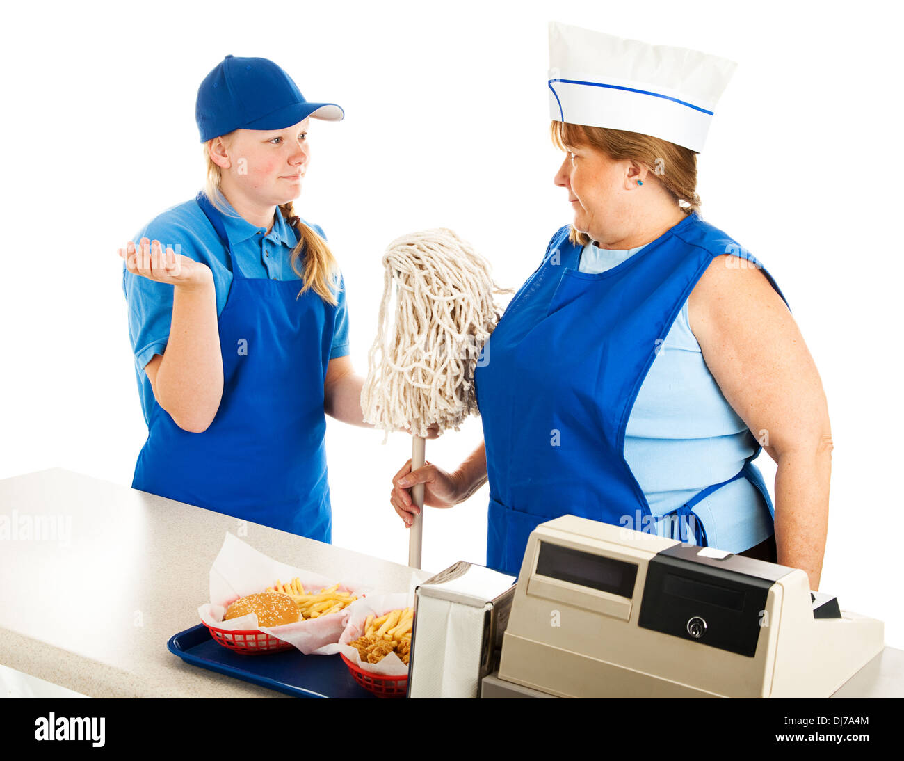 adult w working at a fast food job has to take orders from a adult w working at a fast food job has to take orders from a teenage boss isolated on white