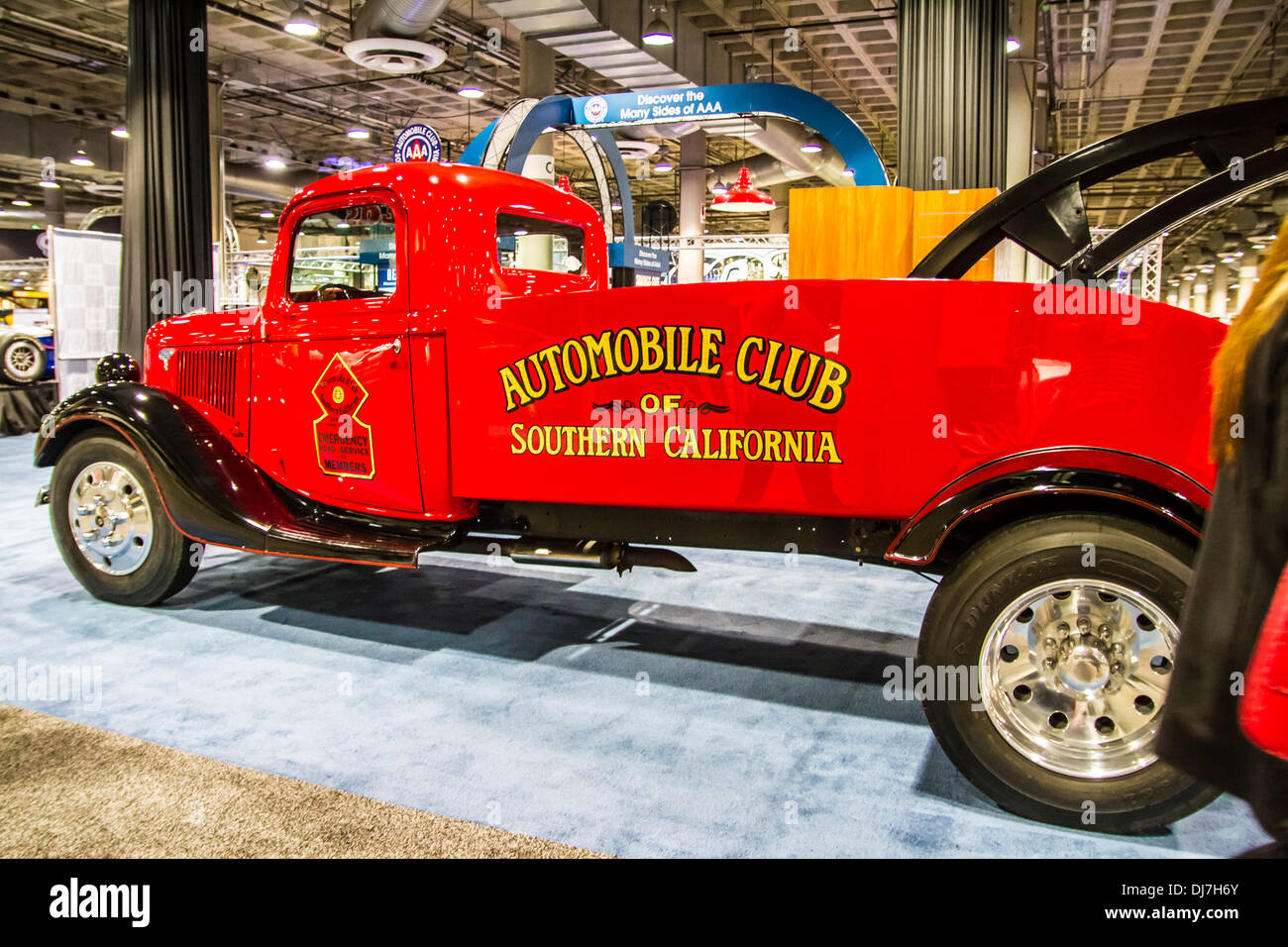 A 1936 antique tow truck hot rod from the wally parks nhra museum at the los angeles international auto show 2013