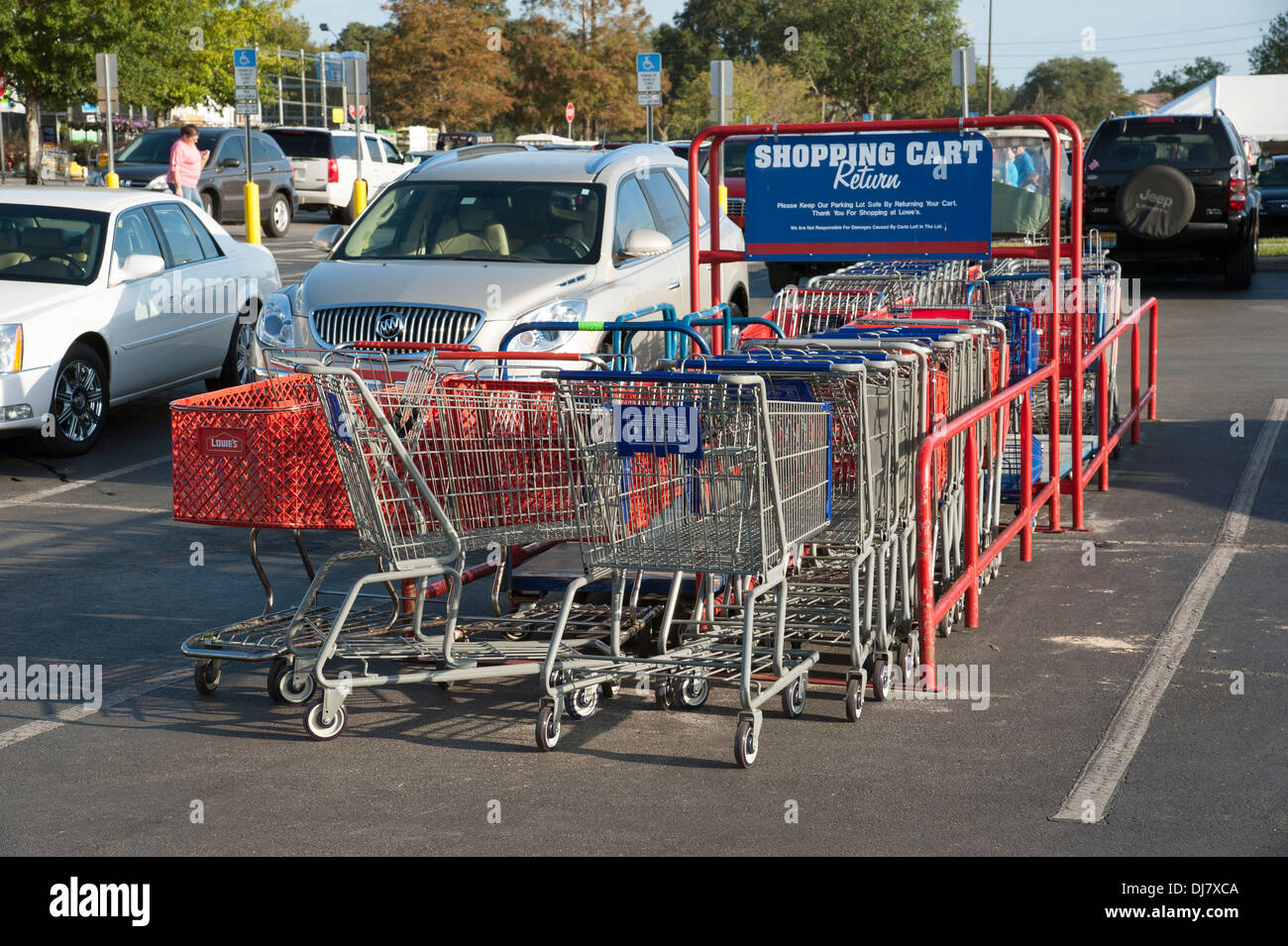 Shopping Cart Return Area In An American Supermarket Car Park Stock Photo Royalty Free Image