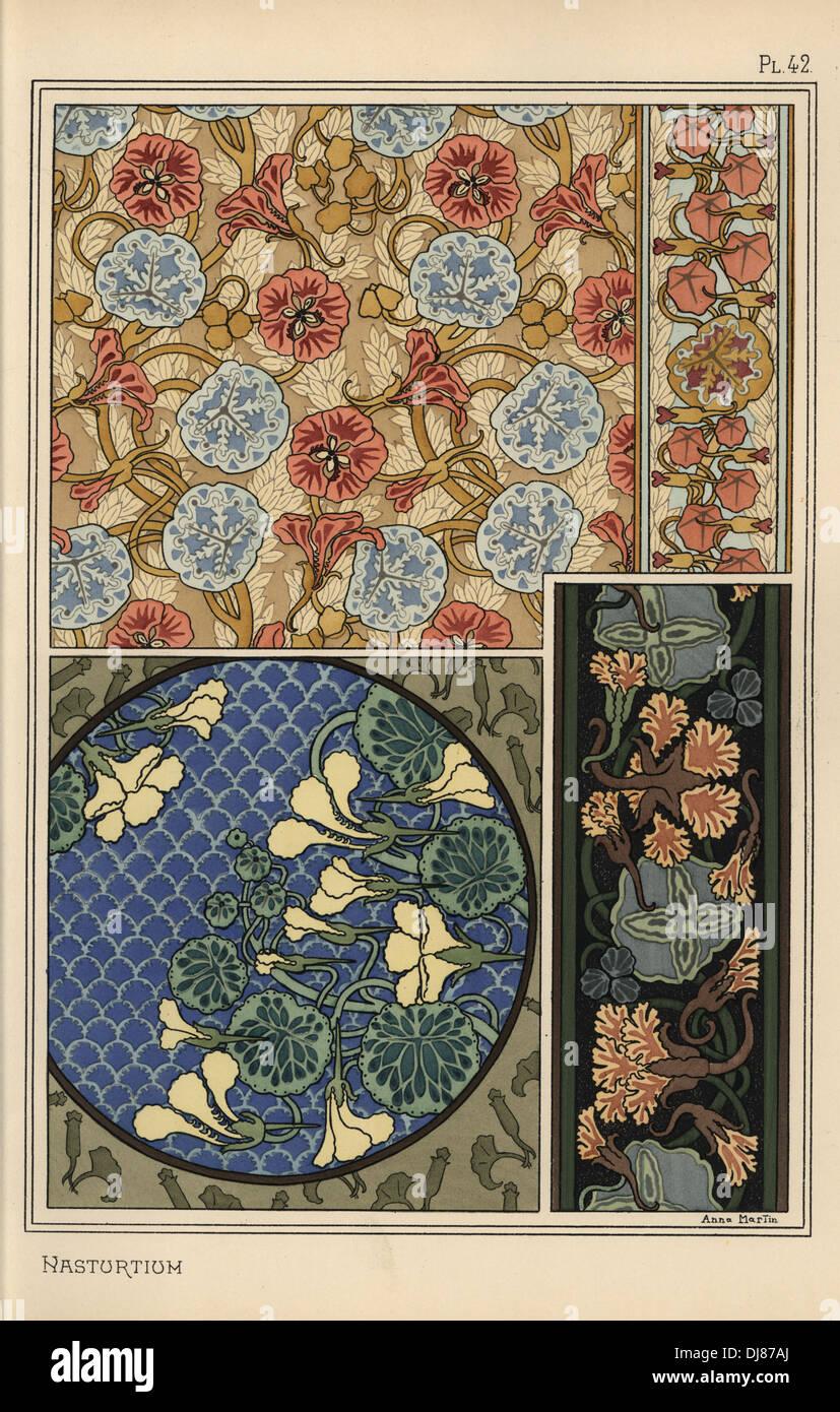 nasturtium in art nouveau patterns for fabrics wallpapers. Black Bedroom Furniture Sets. Home Design Ideas