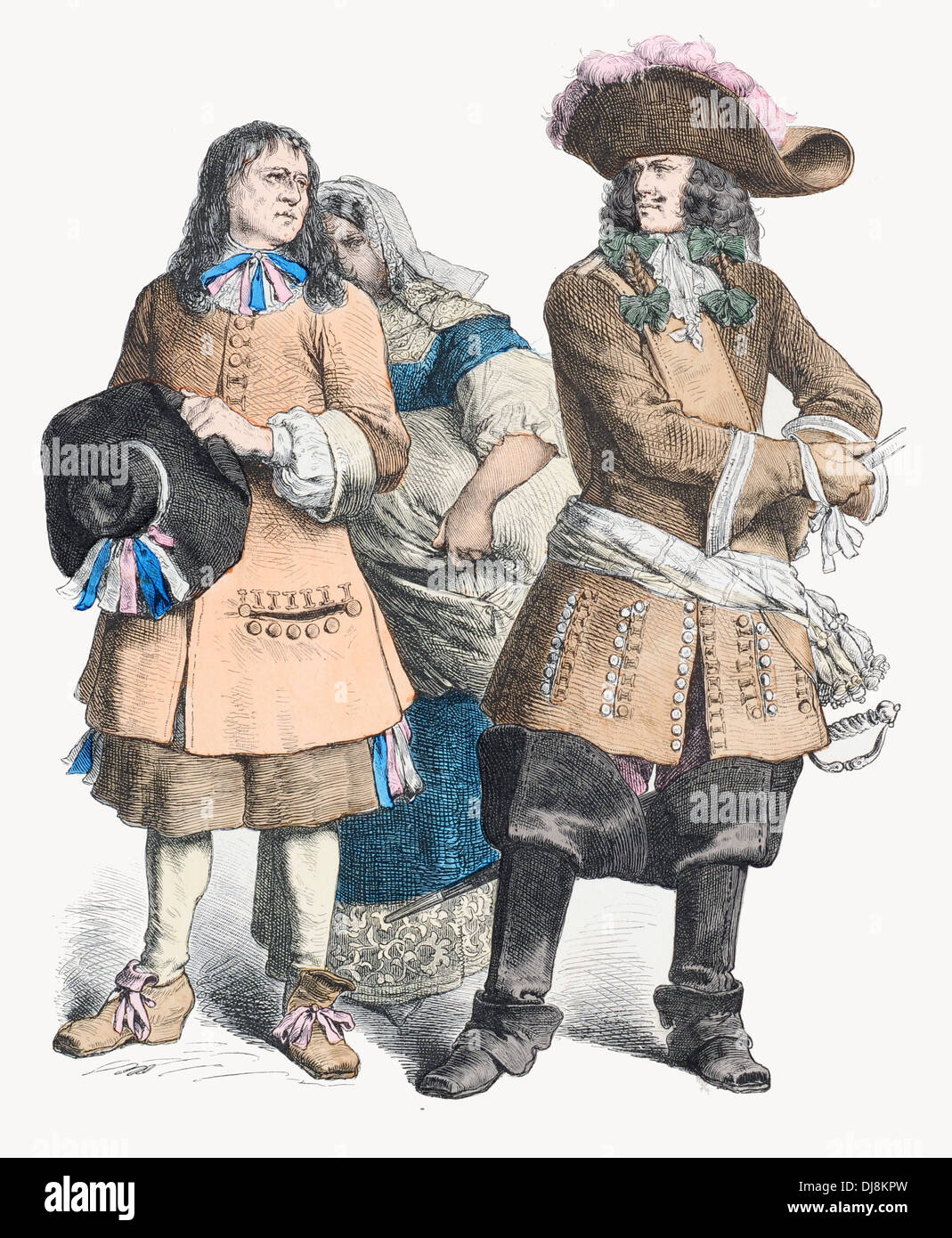 Late 17th century XVII French Peasant and Gens d'Armes ...