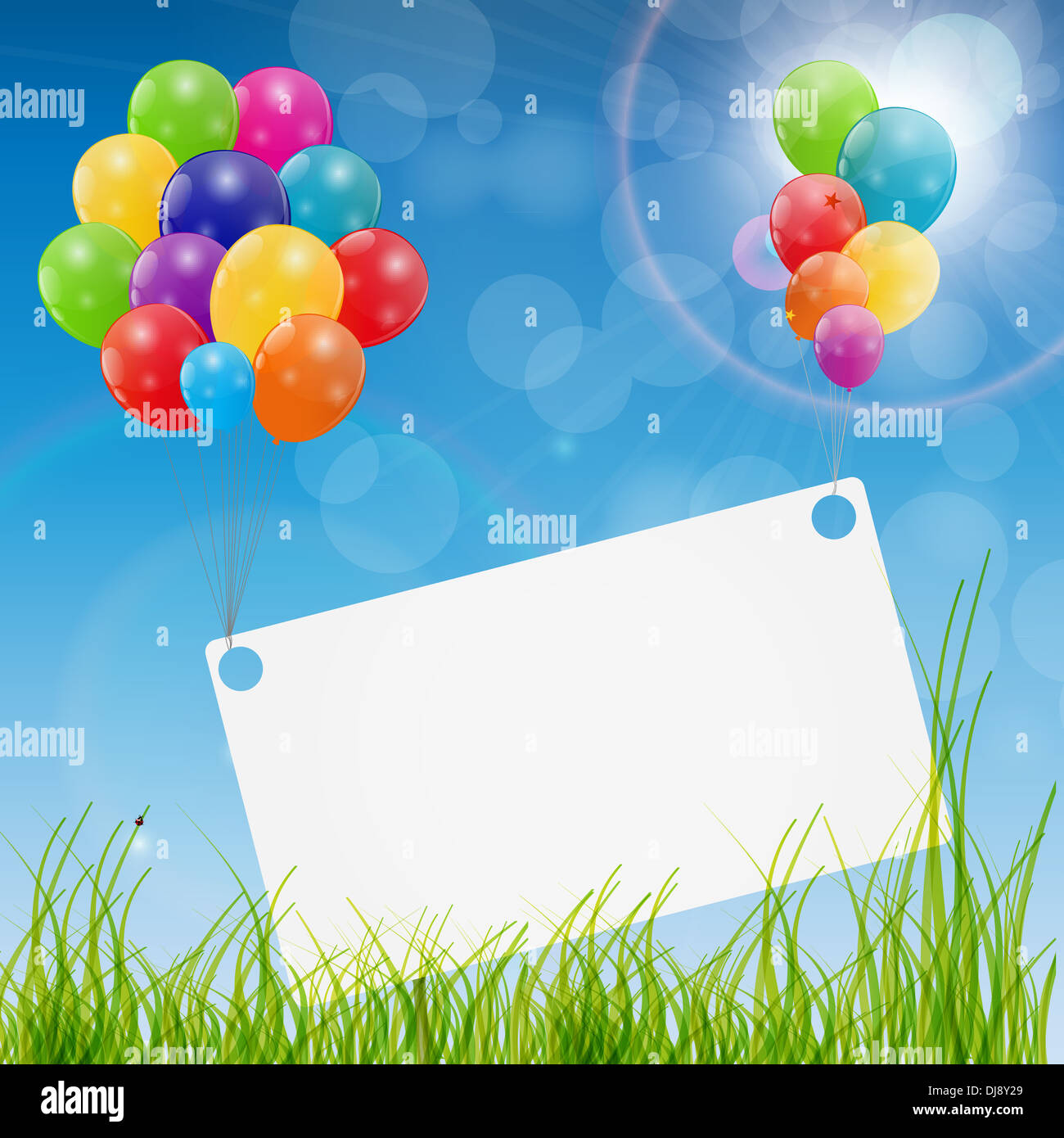 color glossy balloons birthday card background vector illustration