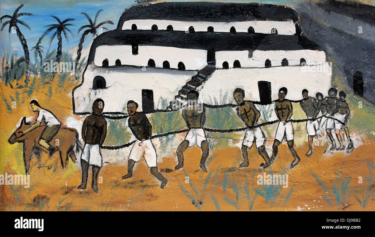 A mural depicting chained and shackled slaves journeying for African mural painting