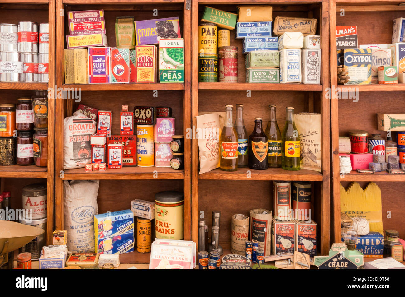Old Fashioned Kitchen old fashioned kitchen provisions dry goods war time stock photo