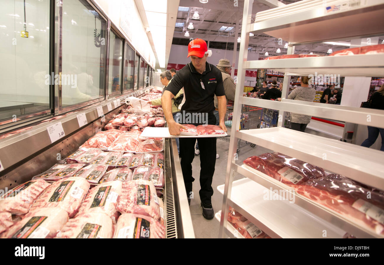 costco and employee stock photos costco and employee stock employee stocks fresh packaged meat at at newly open costco warehouse retail store in cedar park