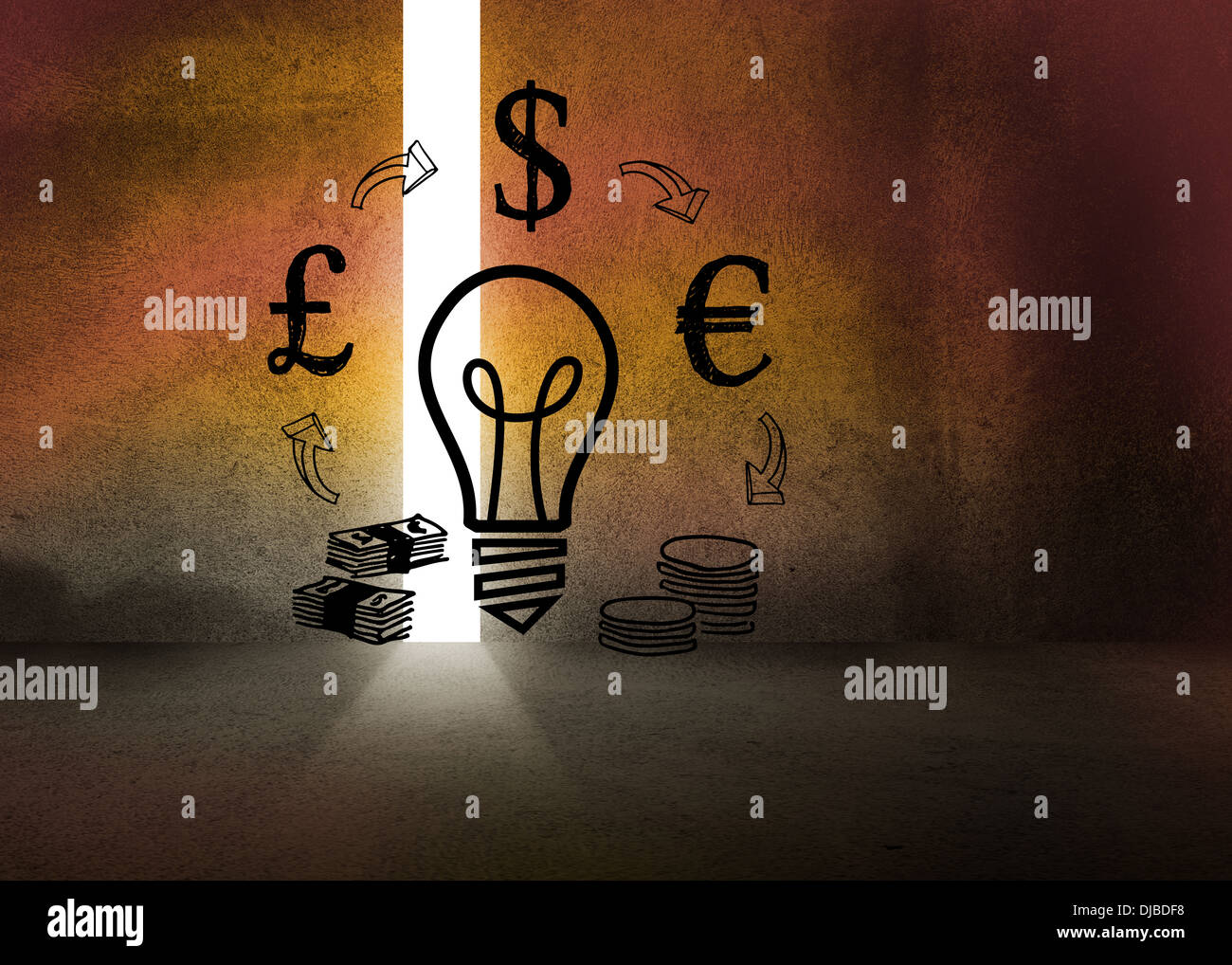 Dark room with light bulb - Light Bulb And Money In Dark Room