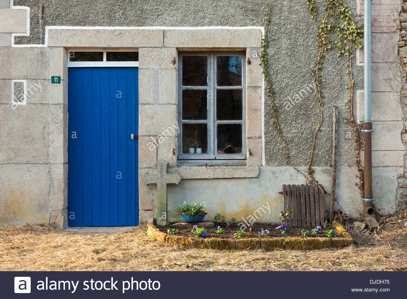 956 #044189 Blue Front Door And Wood Window Of Old Farmhouse In Spring Anzême  image Farmhouse Front Doors 40331300