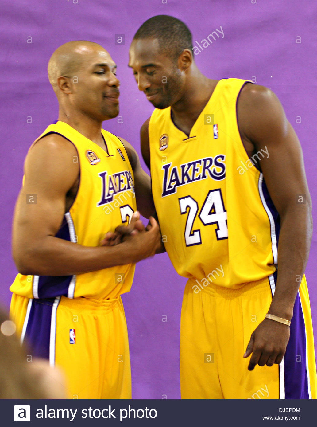 LAKERS MEDIA DAY Derek Fisher and Kobe Bryant pose for a photo at