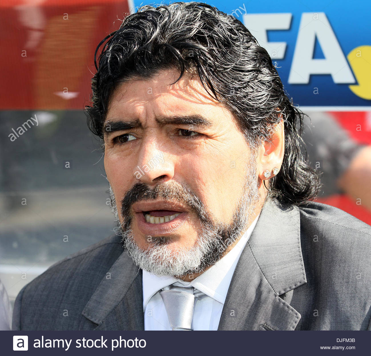 Argentina s Diego Maradona looks on FIFA World Cup 2010 Group