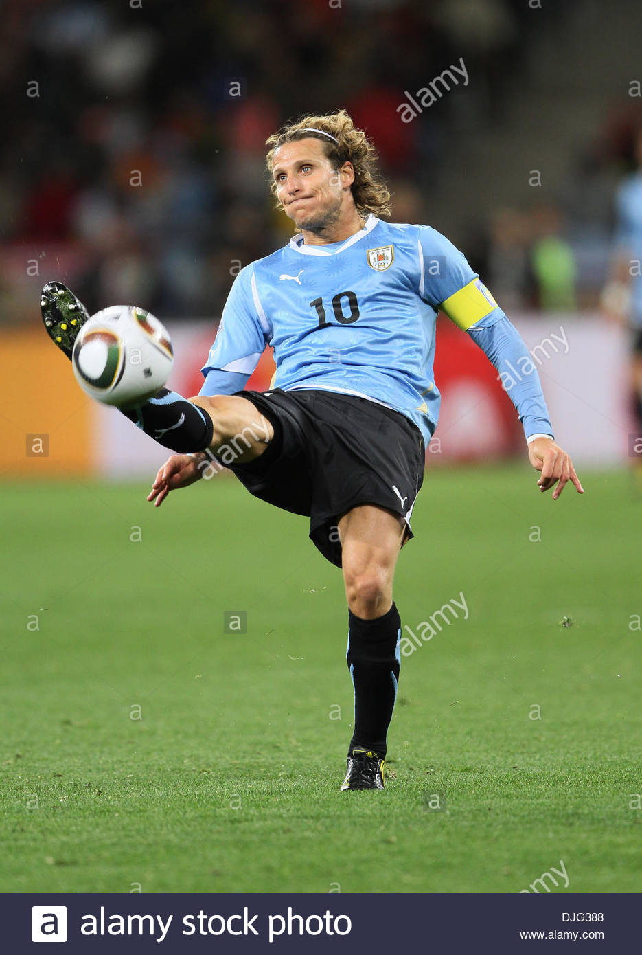 Uruguay s Diego Forlan in action FIFA World Cup 2010 Semi Stock