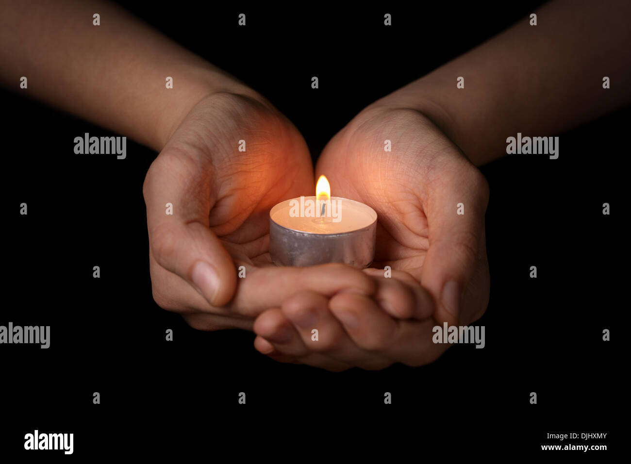 female teen hands holding burning candle in the dark Stock Photo ... for Holding Candle In The Dark  53kxo