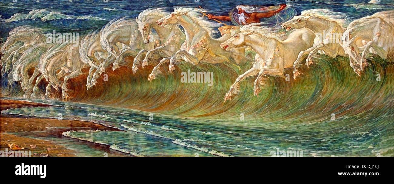 Walter Crane - Neptune'-s horses (1892) | Munchen Neue Pinako