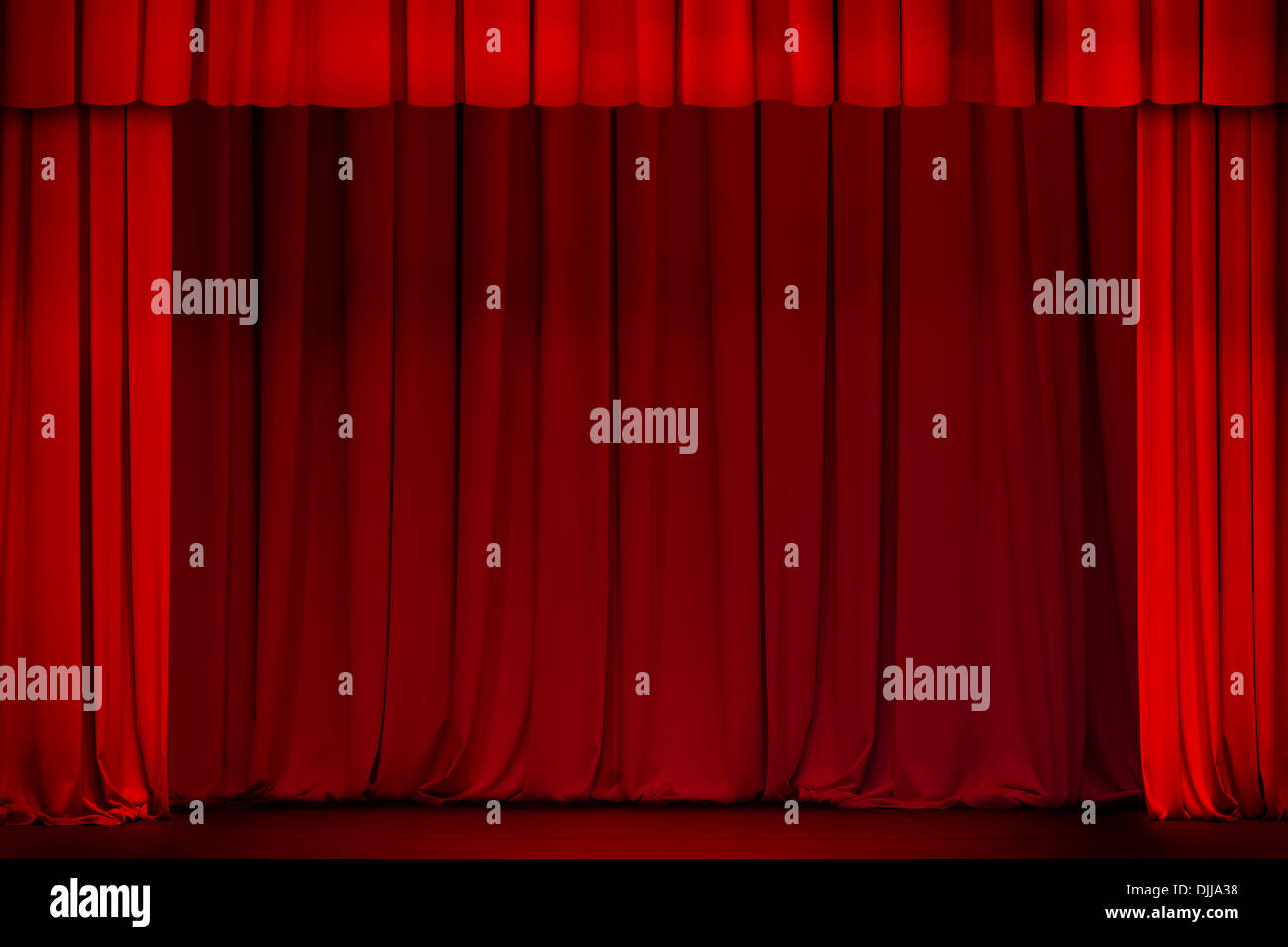 Red stage curtain with lights - Stock Photo Red Curtain On Theater Or Cinema Stage Wide Open