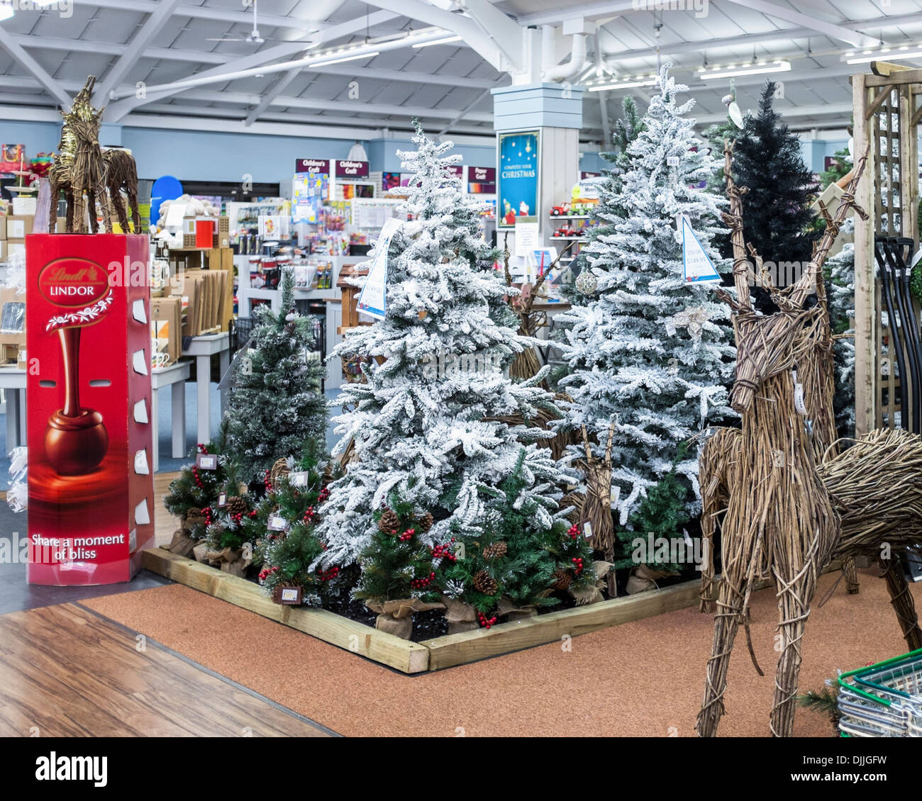 Artificial Christmas Trees And Ornaments Ready For The