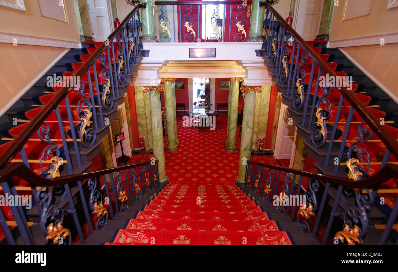 Entrance Staircase And Balcony, Doncaster Mansion House, Doncaster, South  Yorkshire, Britain