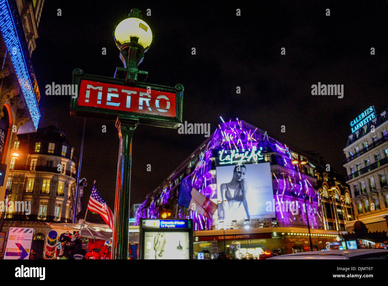 metro station chauss e d 39 antin la fayette and galeries lafayette on stock photo royalty free. Black Bedroom Furniture Sets. Home Design Ideas